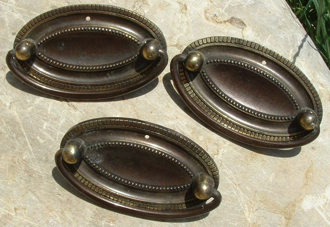 Set of Three Oval Vintage Brass Drawer Pulls