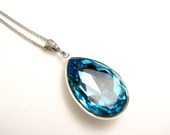 Swarovski aquamarine light blue vintage teardrop foiled crystal rhinestone pendant with white gold plated chain necklace- Free US shipping