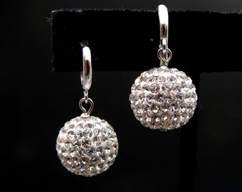 STERLING SILVER-Swarovski clear white crystal rhinestone fire disco ball drop with white gold hoop- Free US shipping