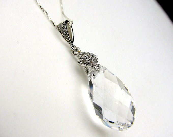 wedding bridal prom party Swarovski clear white new teardrop crystal pendant with silver chain necklace- Free US shipping