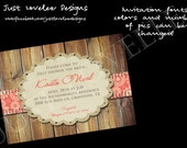 Wedding Shower - Salmon and wood - 5x7 - print your own custom invite