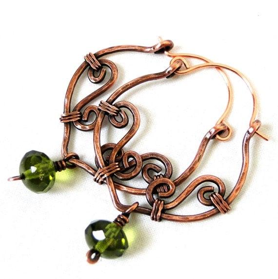 Hoop Earrings, Antiqued Copper Jewelry, Grassy Green Glass, Wire Wrapped Earrings
