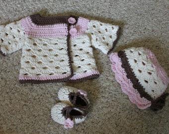 SALE Crochet Baby Sweater Set
