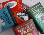 Vintage Tobacco Tins Metal Rustic Advertising Union Leader Sir Walter Raleigh Kentucky Club Prince Albert and Tuxedo