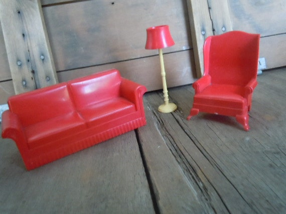 Vintage Dollhouse Furniture Red Plastic Marx Couch Chair Lamp