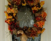 Fall Floral Orange and Brown Shimmery Ribbon Grapevine Wreath