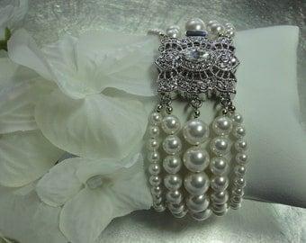 Pearl Bridal Bracelet -  Victorian inspired 5-strand White Swarovski pearls and rhinestone clasp bridal bracelet - The Kim