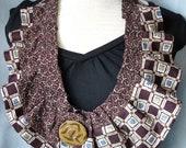 Textile Necklace from Repurposed Neckties Browns and Maroon