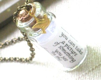 Encourage - A Tiny Glass Bottle Necklace with Little Brass Bird on Antique Gold Chain