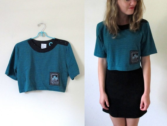 vintage 1980s Teal and Black Button Shoulder Striped Crop Top with Flower Patch -- XS/S/M