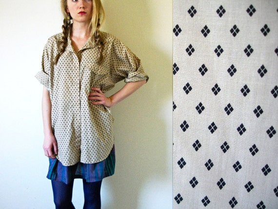 vintage 1980s Shirt // Oversized // Diamond Print // Taupe Biege Tan Neutral // M/L/XL