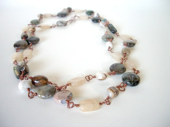 SALE Long Bohemian Necklace - Eclectic Jewelry - Extra Long Necklace -  Gemstones Wire Wrapped in Copper-- BONNIE