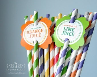 Drinking labels / Juicy and stylish, multi-color, popular striped biodegradable straws, compostable / Eco friendly