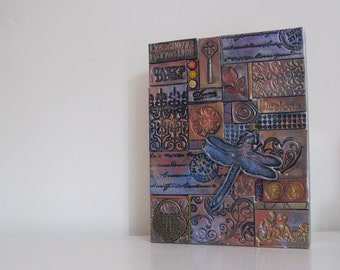 """Polymer clay tiles mosaic on wooden panel - 6"""" x 8"""""""