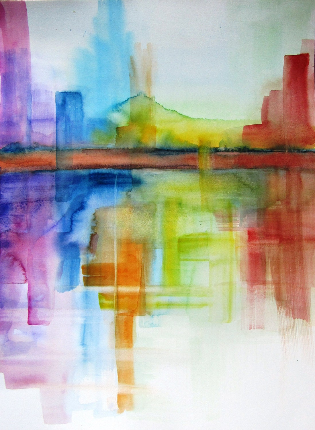 Abstract landscape original watercolor painting 14x for How to paint abstract with watercolors