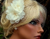 Wedding Fascinator, Bridal Veil, Flower Hair Clip, Bridal Hair Clip, Wedding Veil, Wedding Set, Chiffon, Wedding Flowers, Wedding Hair Clip