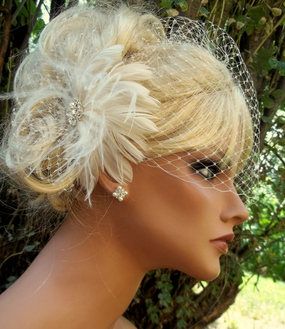 Fascinator, Birdcage Bridal Veil, Feather Fascinator, Wedding Hair Clip,Wedding Vintage Style, Feather hair Clip, Wedding Veils, 2 piece set