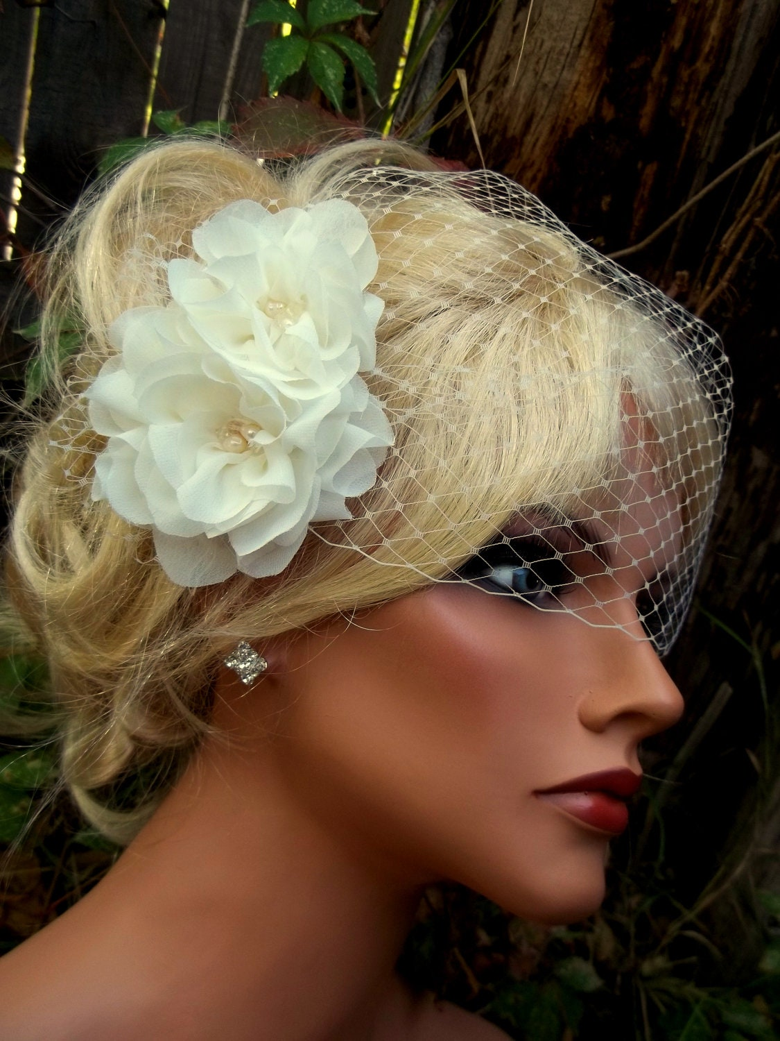 wedding hair flower clips wedding fascinator bridal veil flower hair clip bridal hair 9686