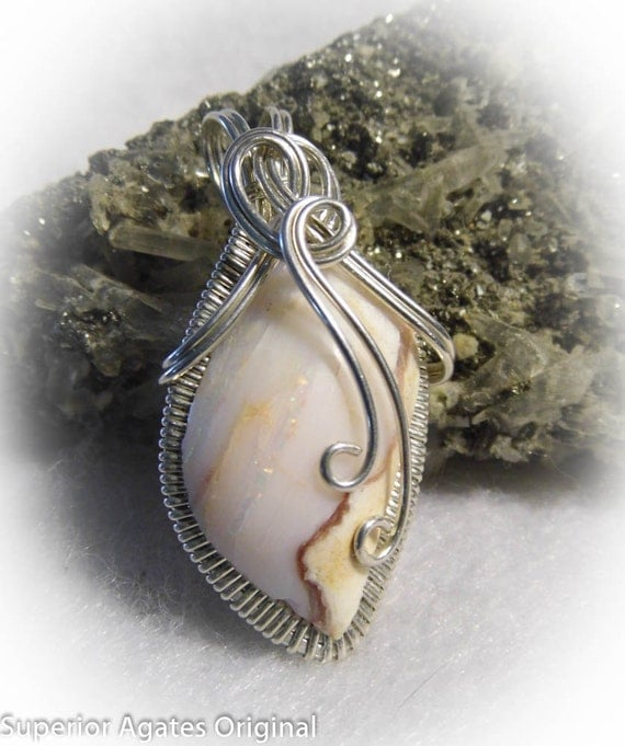 Spencer Opal White Opal Wire Wrapped Stone Pendant