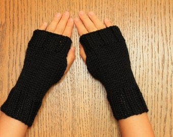 Hand Knit Fingerless Mittens/Texting Gloves - Black  Wrist Warmers- One Size Fits All