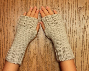 Hand Knit Fingerless Mittens/Texting Gloves - Oatmeal color  Wrist Warmers- One Size Fits All