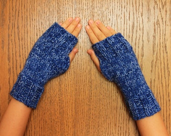Hand Knit Fingerless Mittens/Texting Gloves - Blue variegated Wrist Warmers- One Size Fits All