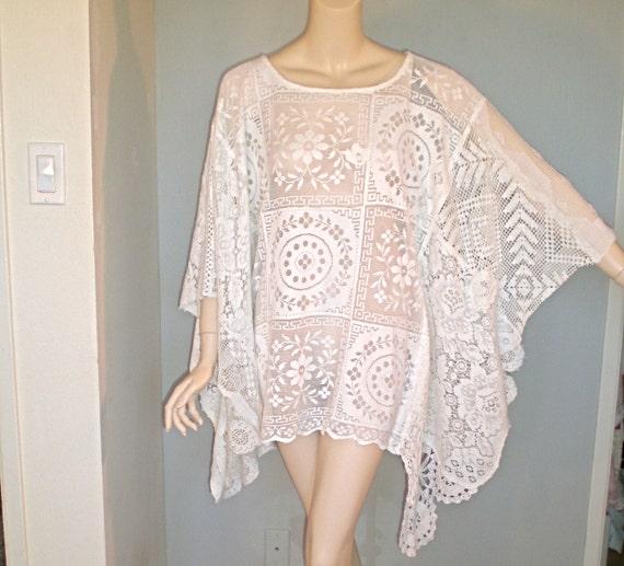 RESEVED Lousia SALE Vintage Crochet LACE Dress kaftan Poncho Hippie S-m