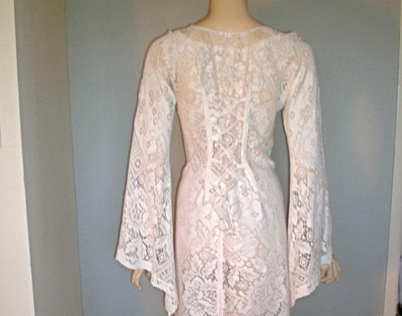 Corset Back Vintage Sheer Crochet LACE DRESS Renaissance Festival ooak M