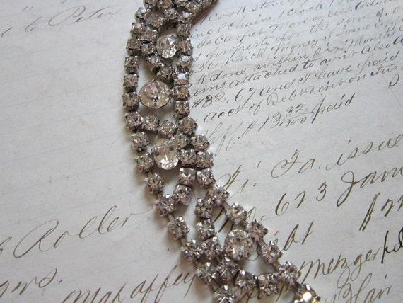 SALE - vintage KRAMER rhinestone bracelet - clear stones, signed, no stones missing - needs repair