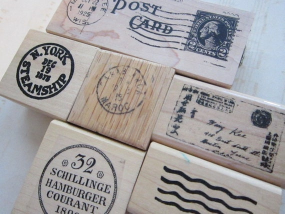 6 rubber stamps - MAIL ART, faux postage, cancellation - new and used - M2