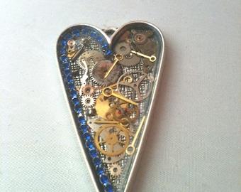 Clockwork Clutter Blue Crystal Steampunk Necklace