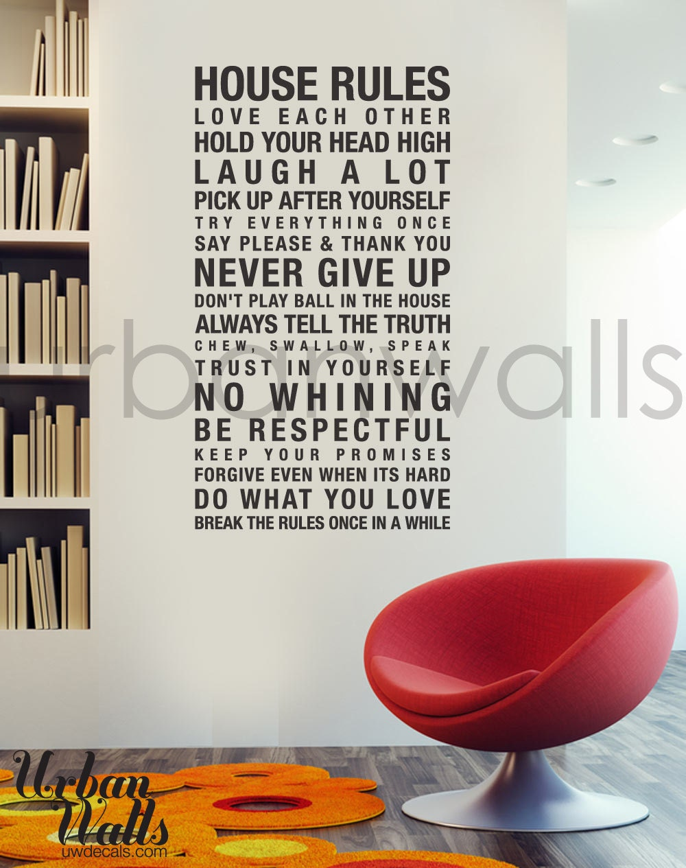 Vinyl Wall Decal Sticker Art House Rules