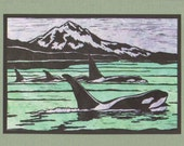 5 Orca Notecards on Sage Green