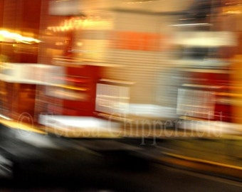 Fire Truck Print, Fine Art Abstract Car Photography, Go Faster, 8x12, 16x24, Boys Room Decor, Flashing Lights, Sirens, Bright Red Wall Art
