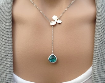 Silver Orchid Lariat - Sea Green Glass Teardrop -   gift, feminine, wife, anniversary, mother, sister, daughter, bridesmaid, friend