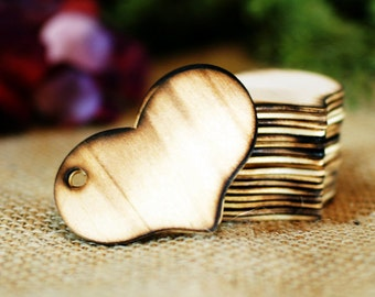 100 Blank Wooden Heart Wishing Tree Tags with Rustic Twig Pen