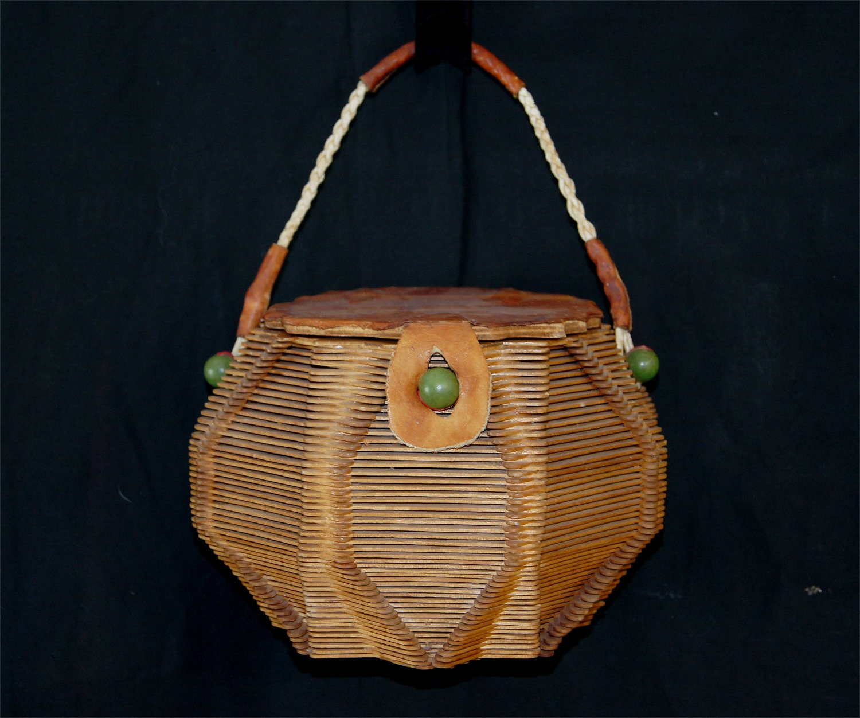 Vintage 1960s Folk Art Popsicle Stick Wood Basket Purse
