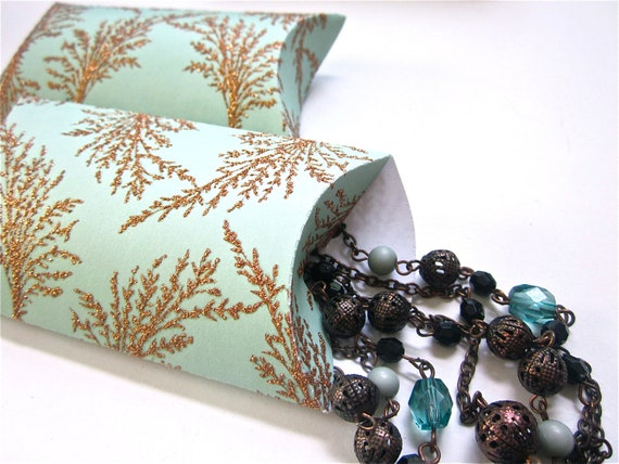 Pillow Boxes Gold Glitter and Teal Gift Box Favors, Set of 12