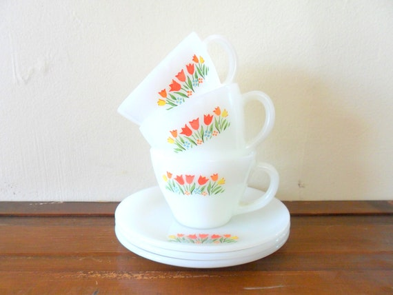 set of three vintage tulip detailed fire king tea cups with saucers - floral - milk glass