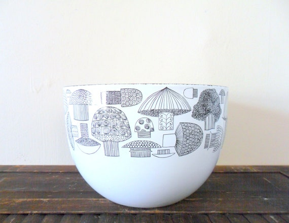 vintage large arabia finel kaj franck white enamel mushroom bowl - designer - 1960s