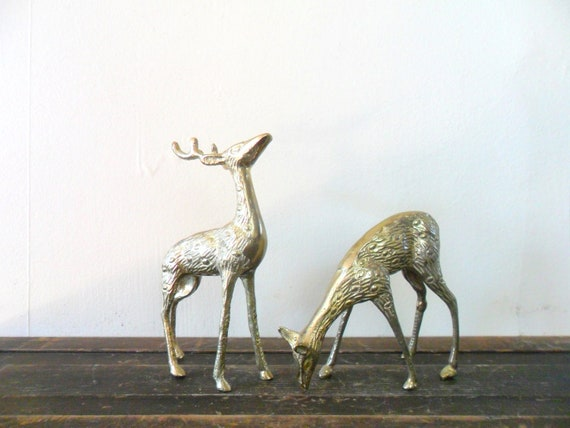vintage spotted brass deer figurines - midcentury - patina - christmas - holidays - gold toned