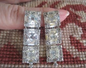 Vintage Signed WEISS Classic Square Rhinestone Dangle Drippy Drop Clip on Earrings Bride Bridal Wedding
