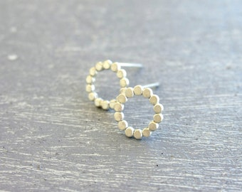 Open Circle post earrings / small hoop posts in sterling silver / tiny dots earrings Handmade gifts under 50