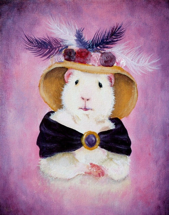 Guinea Pig Art - Beatrice Buttercream the Victorian Guinea Pig Portrait Print