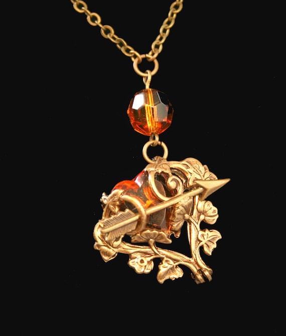 Victorian Necklace Steampunk Amber Heart Jewelry Shot Thru The Heart