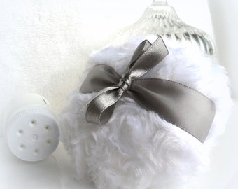 Grey Body Powder Puff - pewter gray and white - bath pouf - gift box option - by Bonny Bubbles