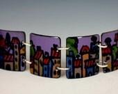 SALE!  Paris, Villages, European , Enamel, Hand painted, Panel Bracelet, Enamel Jewelry,Purple,Vitreous Enamel