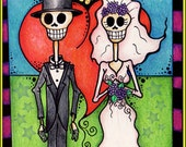PERSONALIZED Day of the Dead / Dia De Los Muertos Bride and Groom Matted Print-Fits in 8X10 Frame