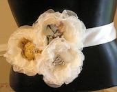 Bridal Belt- Bridal Sash-  Floral Lace- Vintage Wedding- Fall Wedding