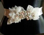 Bridal Belt- Bridal Sash- Vintage Wedding- Swarovski Crystals- One-of-a-Kind Hand-Beaded -Vintage Glamour- TheLUXE